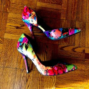 Gorgeous Steve Madden floral d'Orsey patent shoes